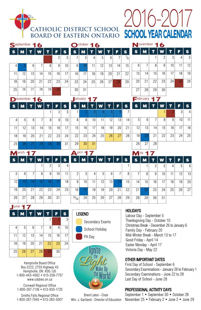 CDSBEO Calendar 2016-17