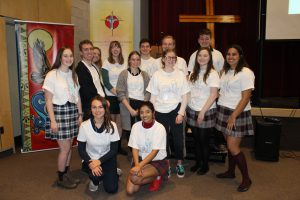 Members of the Student Senate pose as a group at the Just-Us Youth Day.