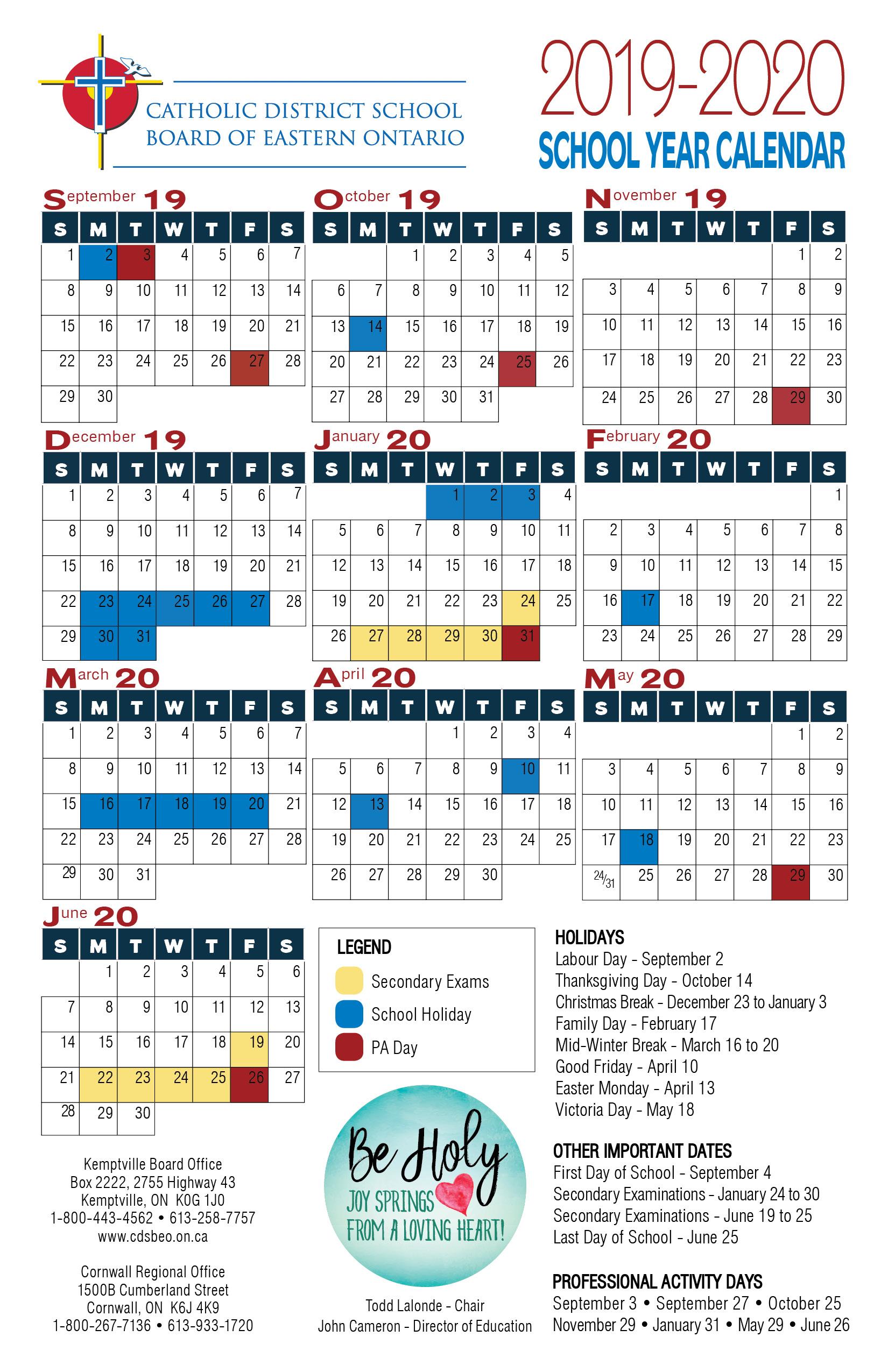 Can Calendrier 2020.School Year Calendar Catholic District School Board Of