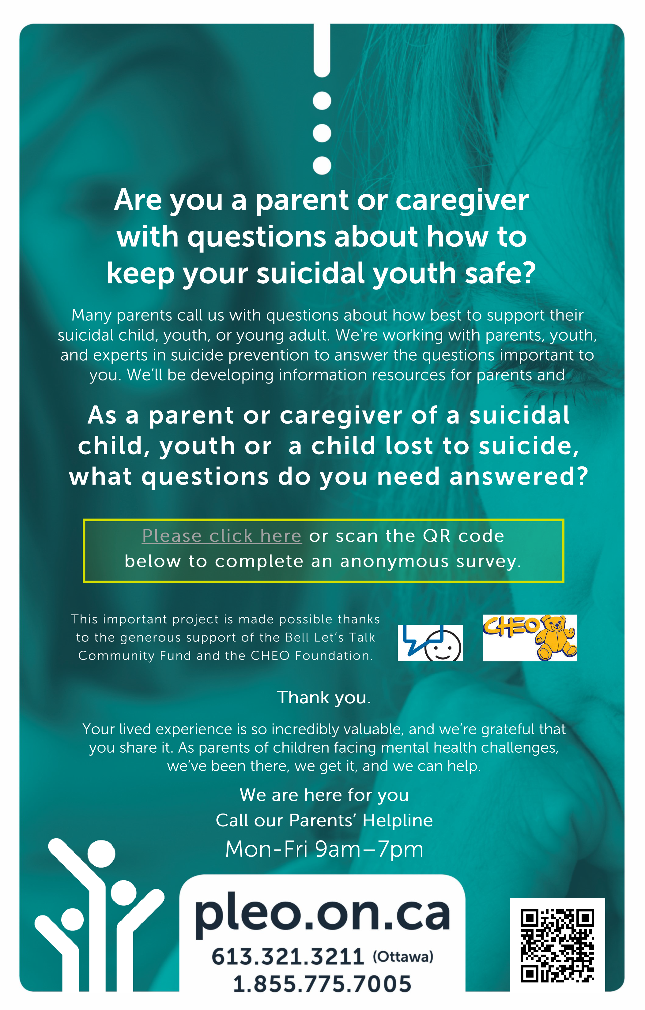 Poster for the www.pleo.on.ca suicide initiative.